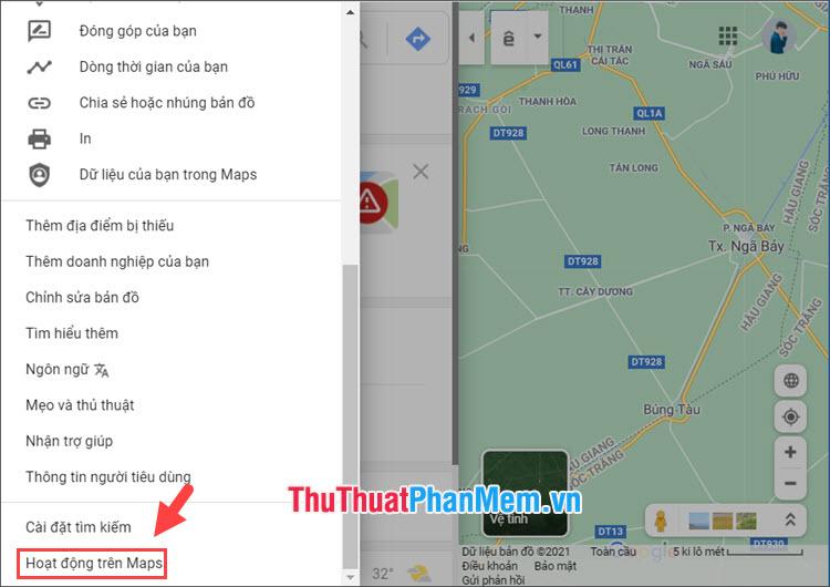 Chọn mục Hoạt động trên Maps