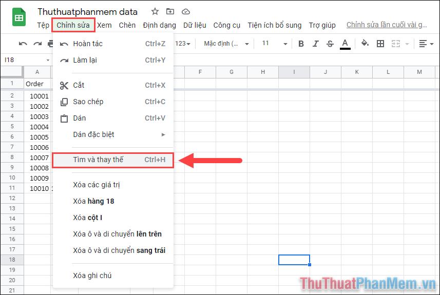 Chọn Tìm và thay thế (Ctrl + H) để mở công cụ