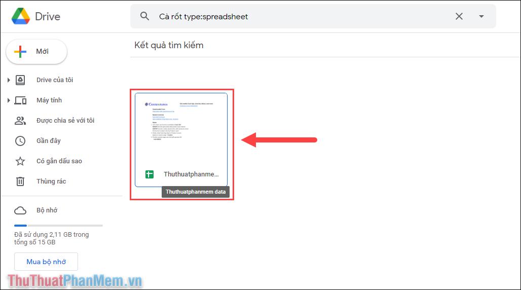 Google Drive sẽ bắt đầu tìm kiếm trên toàn bộ các file Sheets và lọc ra những file Sheets có chứa từ khóa đó
