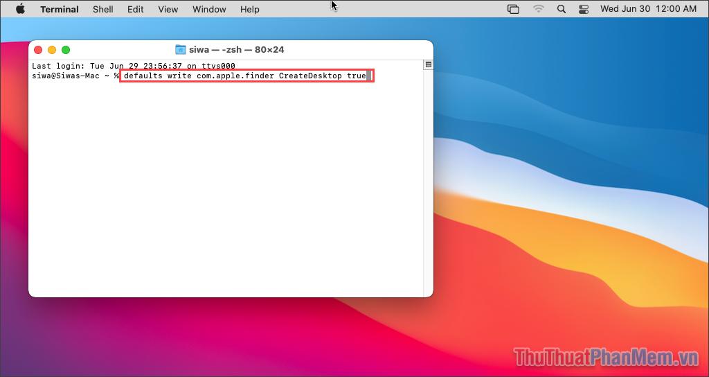 Chạy lệnh defaults write com.apple.finder CreateDesktop true