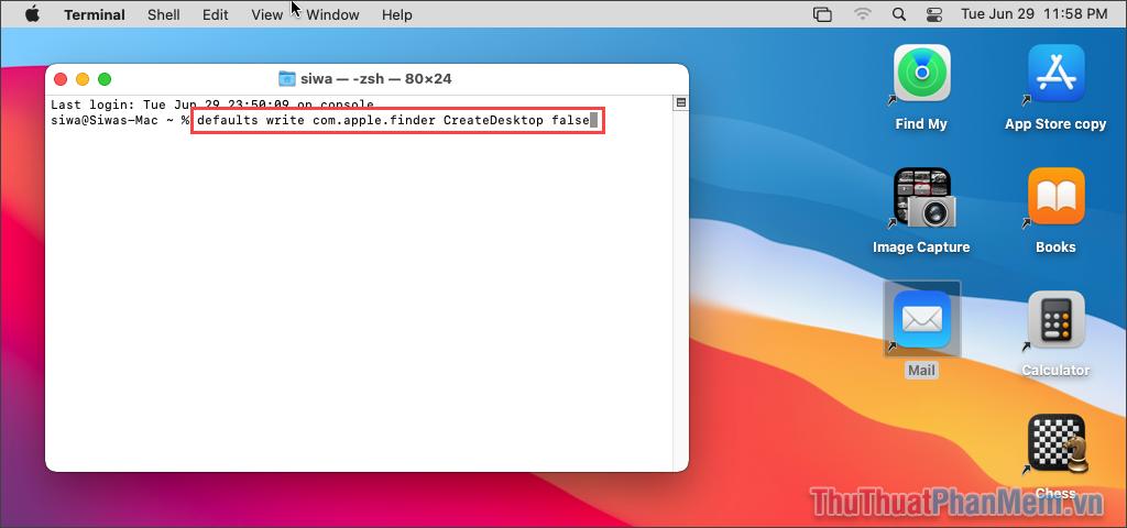 Nhập lệnh defaults write com.apple.finder CreateDesktop false