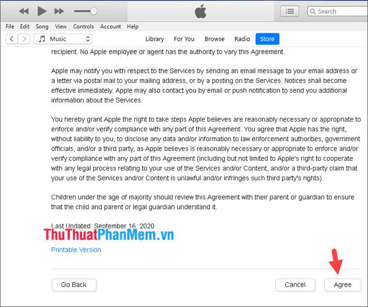 Click vào Agree để đồng ý với điều khoản của Apple