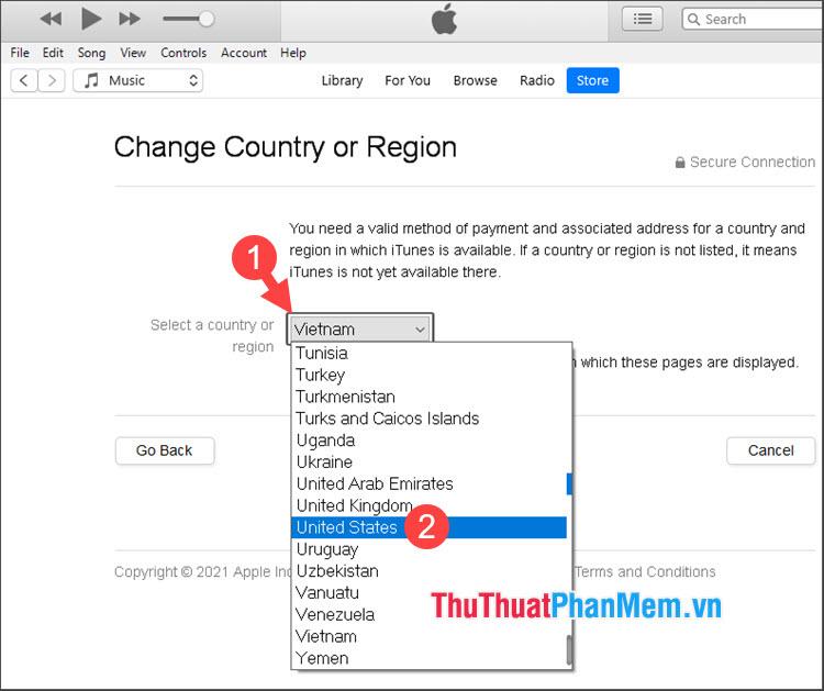 Click vào Select a country or region rồi chọn quốc gia muốn thay đổi