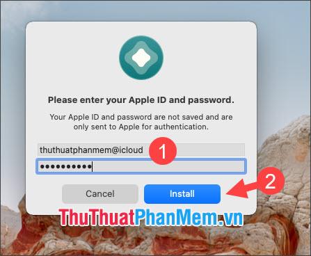 Chọn Install để cài AltStore lên iPhone, iPad