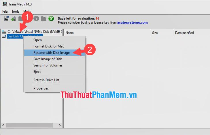 Click chuột phải vào USB rồi chọn Restore with Disk Image