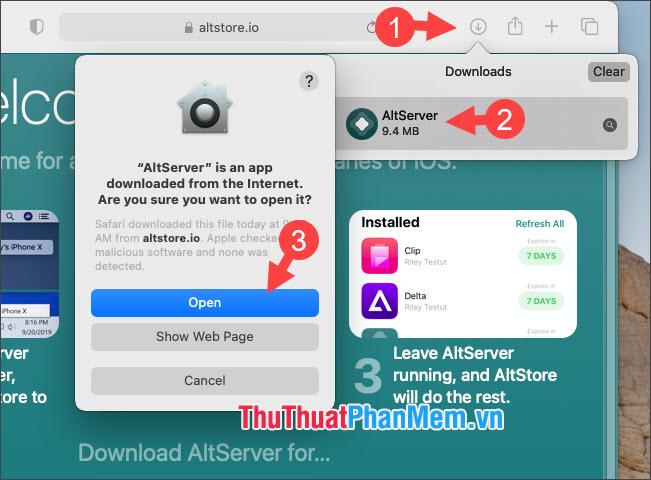 Click vào AltServer  và chọn Open