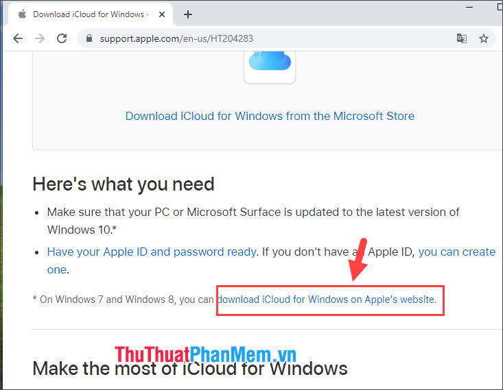 Click vào download iCloud for Windows on Apples website