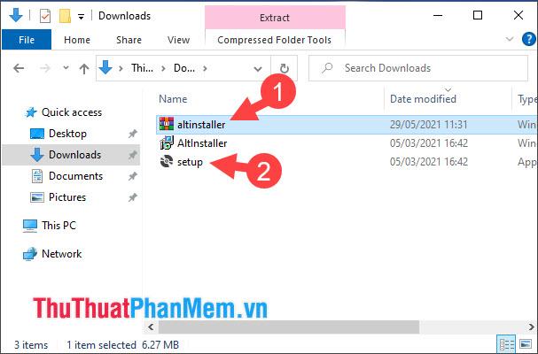 Giải nén file altinstaller và click đúp vào file setup để cài đặt