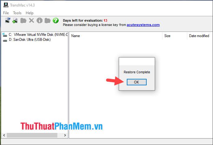 Thông báo Restore Complete hiện lên là thành công, bạn hãy click OK để đóng hộp thoại này