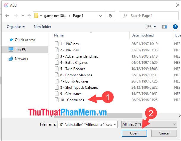 Chọn file game cần tải lên và nhấn Open