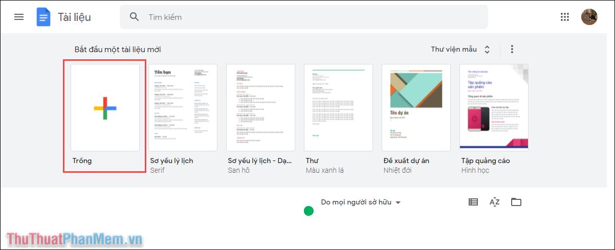 Chọn mục Trống để tạo một file tài liệu mới trên nền tảng