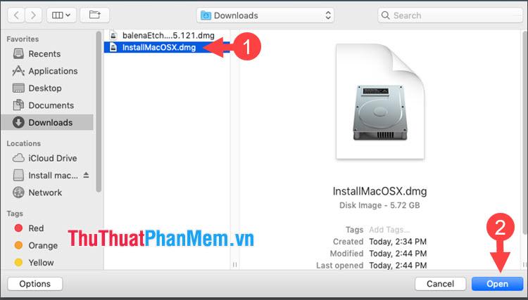 Click chọn file cài đặt macOS rồi nhấn Open
