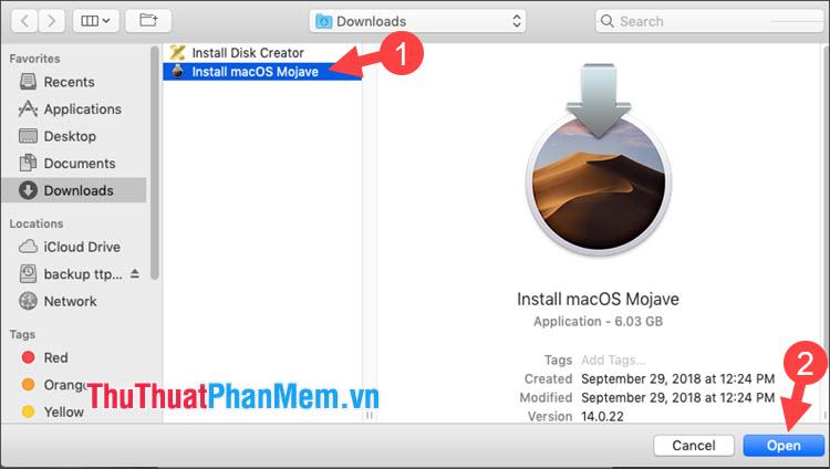 Click chọn file cài đặt macOS tải về từ AppStore và nhấn Open