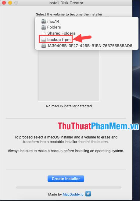 Click chọn USB cần tạo Boot
