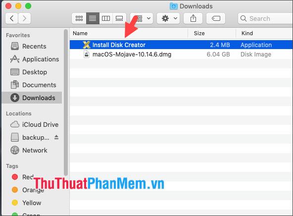 Click đúp vào ứng dụng Install Disk Creator đã tải về
