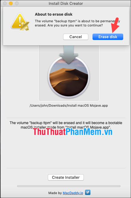 Click Erase disk để xác nhận xóa USB