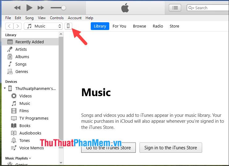 Click vào biểu tượng iPhone trên phần mềm