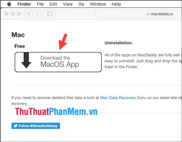 Click vào Download the MacOS App để tải công cụ này về máy