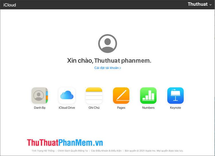 Đăng nhập vào giao diện chính của iCloud là thành công
