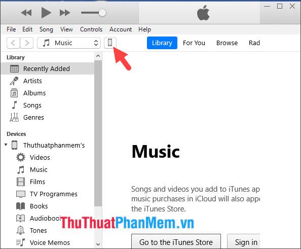 Mở iTunes và click vào biểu tượng Thiết bị