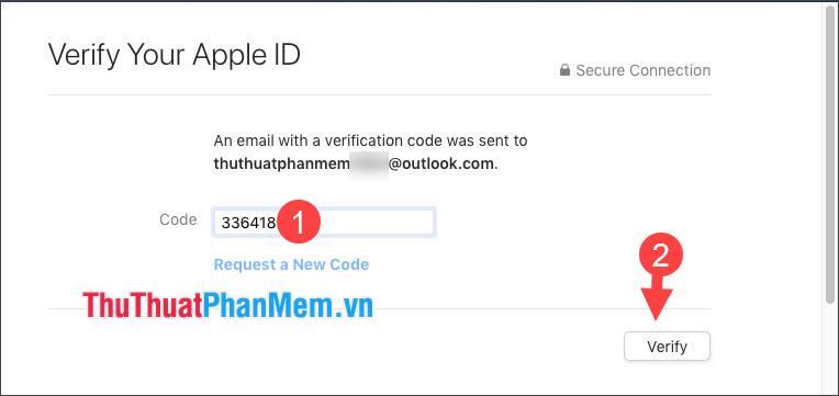Nhập mã xác nhận gửi qua email và nhấn Verify