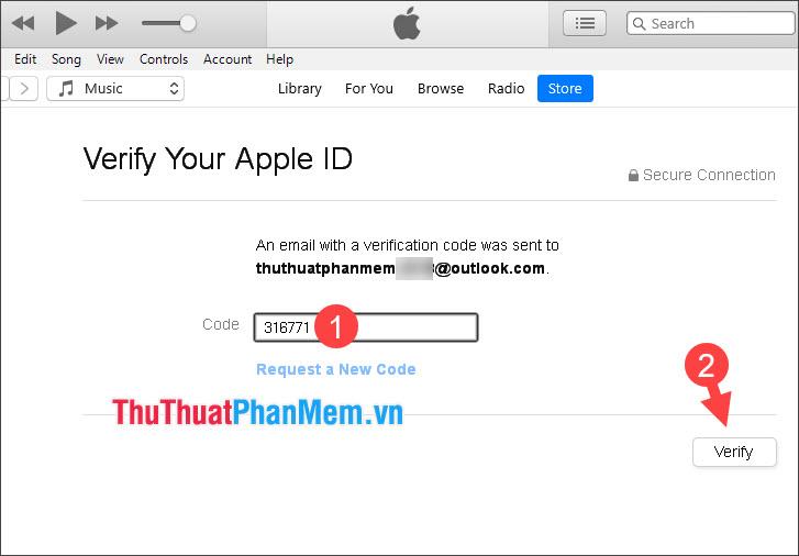 Nhập mã xác nhận gửi về email và chọn Verify