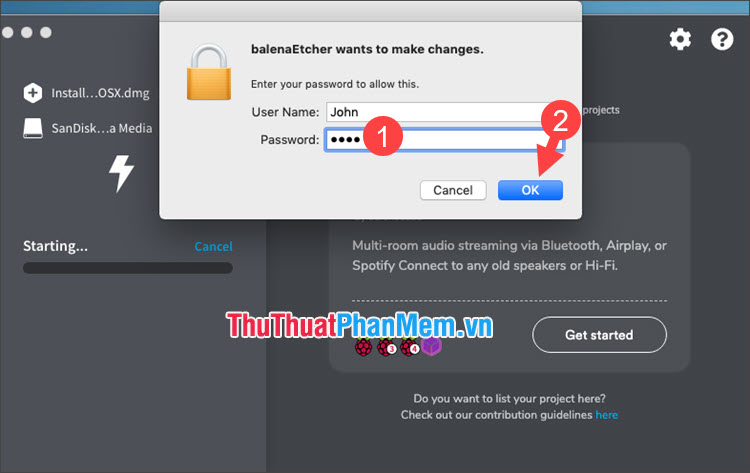 Nhập mật khẩu trên macOS