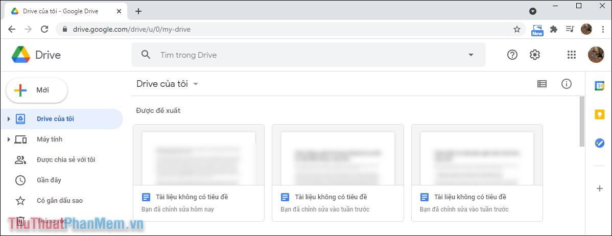 Truy cập trang chủ của Google Drive để chuyển đổi