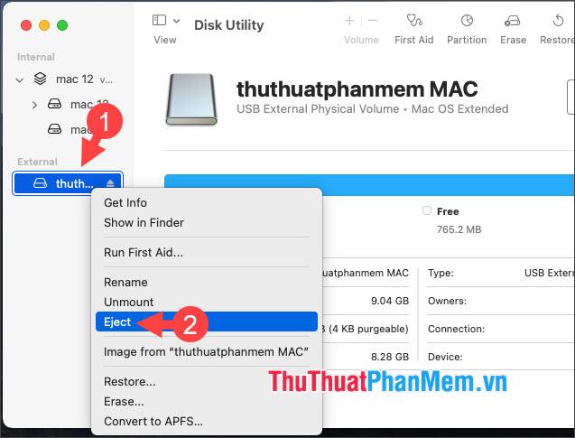 Chọn Eject để tháo USB an toàn
