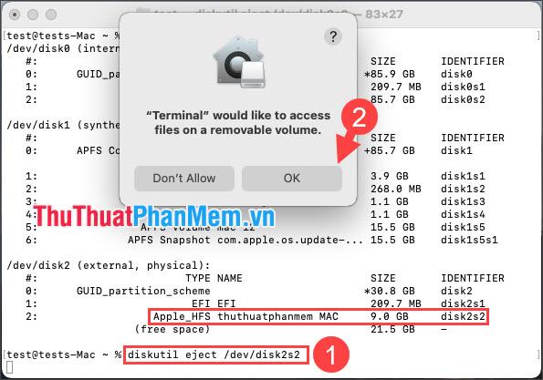 Click OK để cho phép Terminal tháo USB an toàn