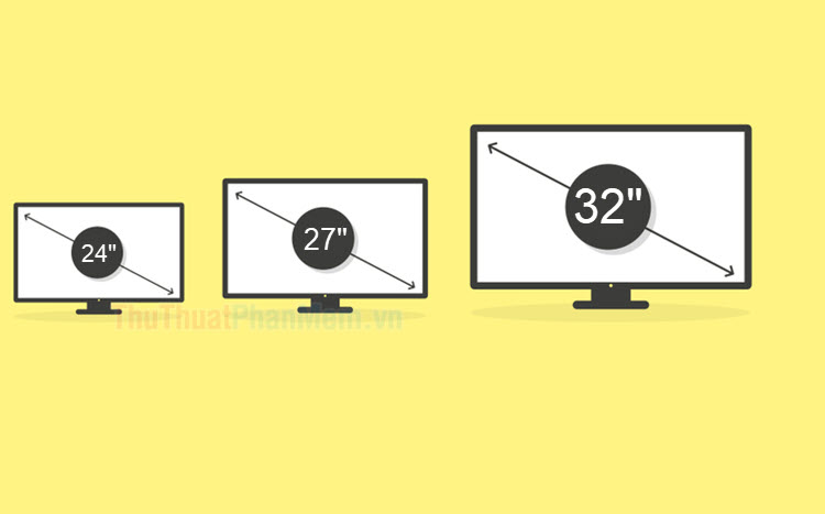 Kích thước màn hình 24 inch, 27 inch, 32 inch