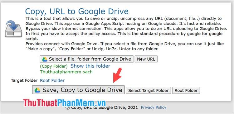 Click vào Save, Copy to Google Drive