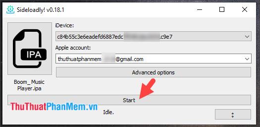 Bấm Start để bắt đầu quá trình cài đặt và sideload ứng dụng vào máy