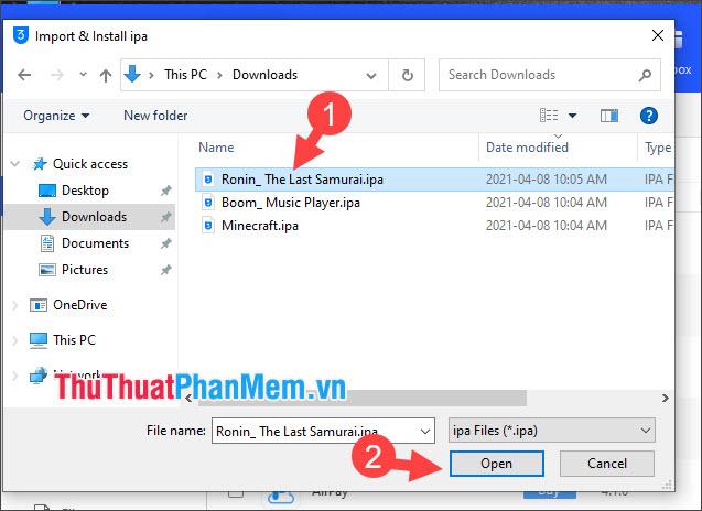 Click chọn file ipa và nhấn Open