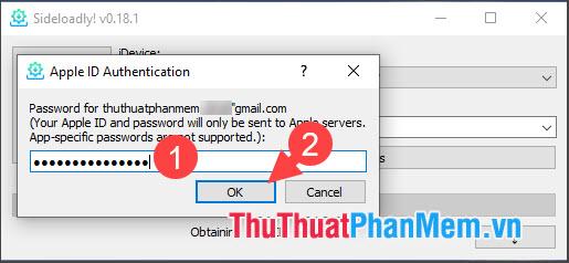 Nhập mật khẩu của tài khoản Apple ID và nhấn OK