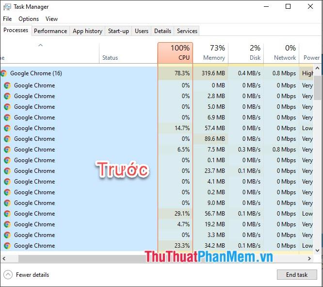 Bạn có thể xem hình ảnh so sánh Task manager trước và sau khi Freeze tab
