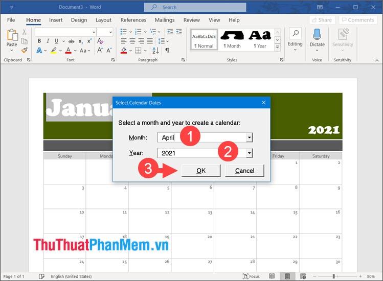 Chọn tháng và năm cho lịch cần tạo rồi nhấn OK để tạo lịch
