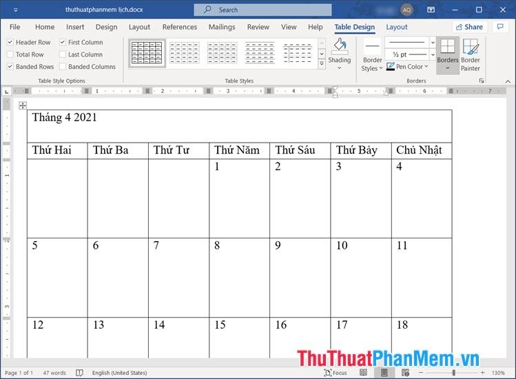 Điền các thông tin cơ bản như Năm, Tháng, thứ, ngày cho bảng
