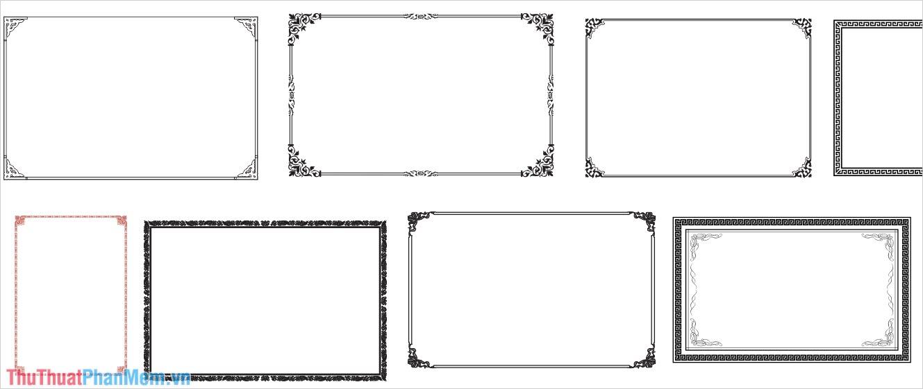 Bộ khung viền đơn giản nhiều màu cho Corel