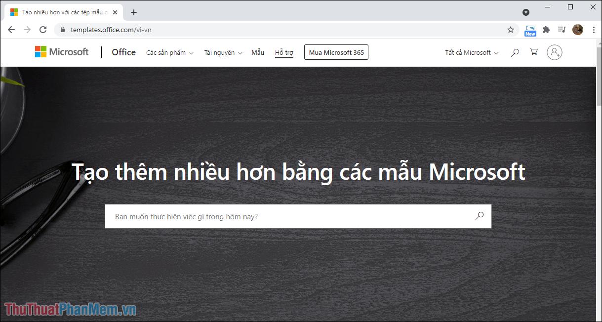 Truy cập trang chủ của Templates Office để lựa chọn các mẫu phù hợp với nhu cầu thiết kế của bản thân