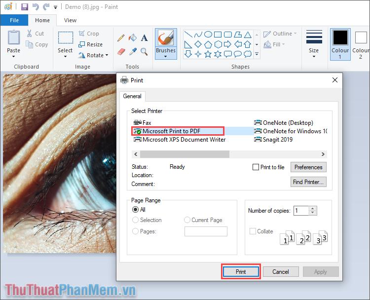 Chọn mục Microsoft Print to PDF trong mục Select Printer và nhấn Print để hoàn tất