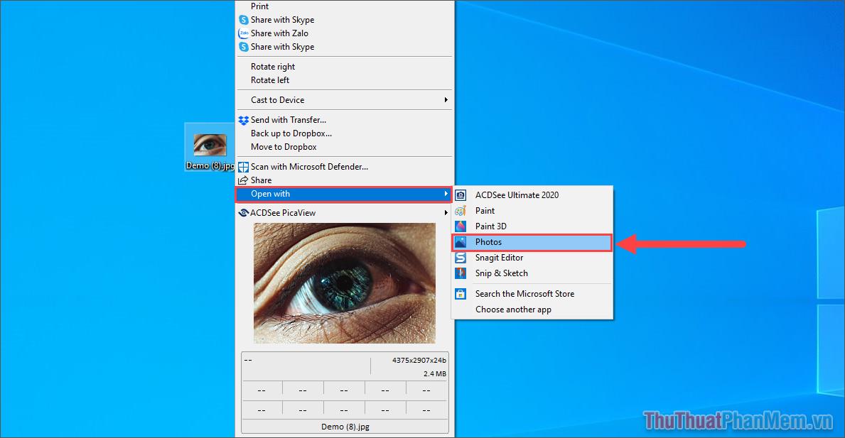 Click chuột phải vào hình ảnh cần chuyển đổi sang file PDF và chọn Open With và nhấn Photos