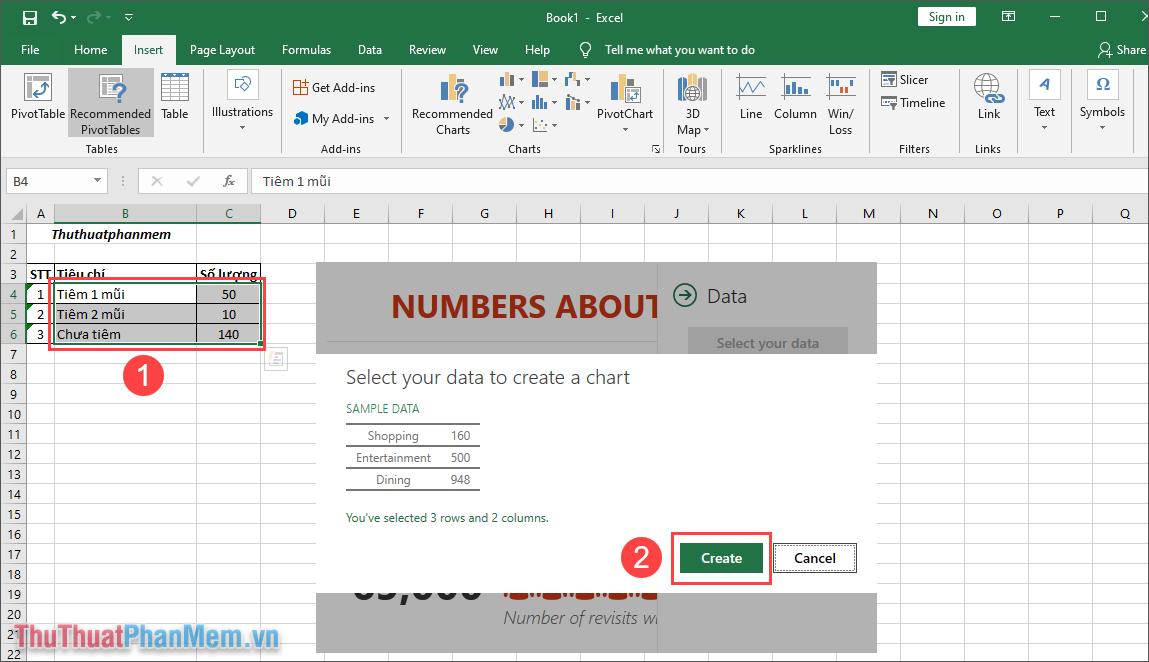 Nhấn Create để nhập dữ liệu vào biểu đồ