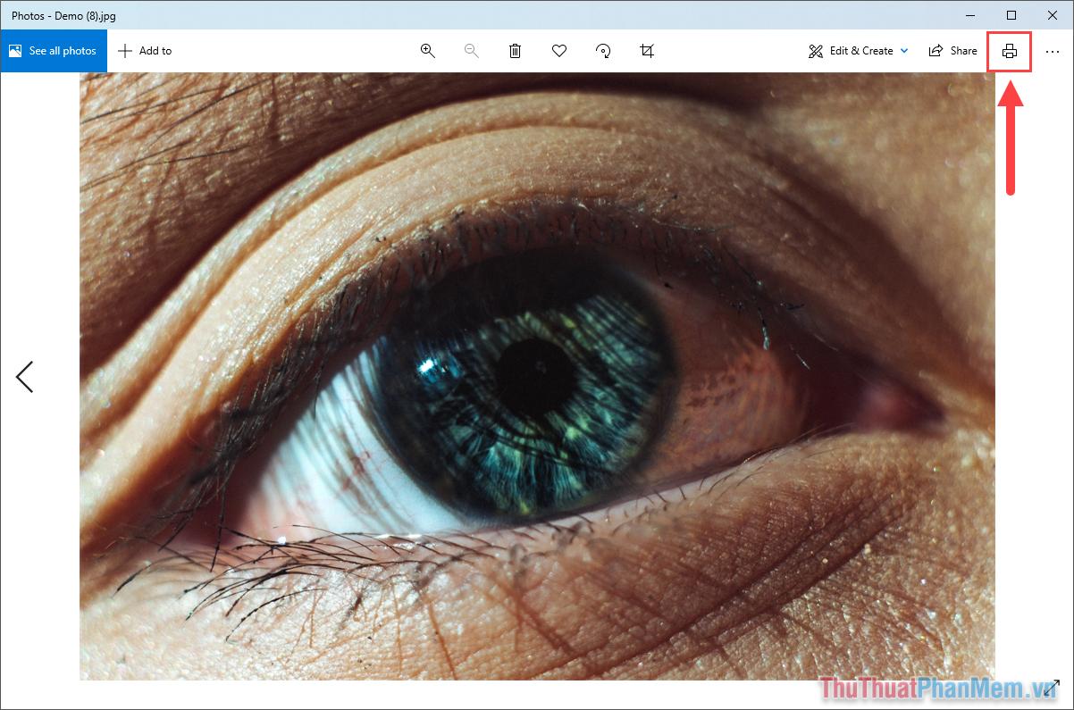Tìm đến biểu tượng máy in Print trong công cụ Photos để bắt đầu chuyển đổi hình ảnh sang PDF