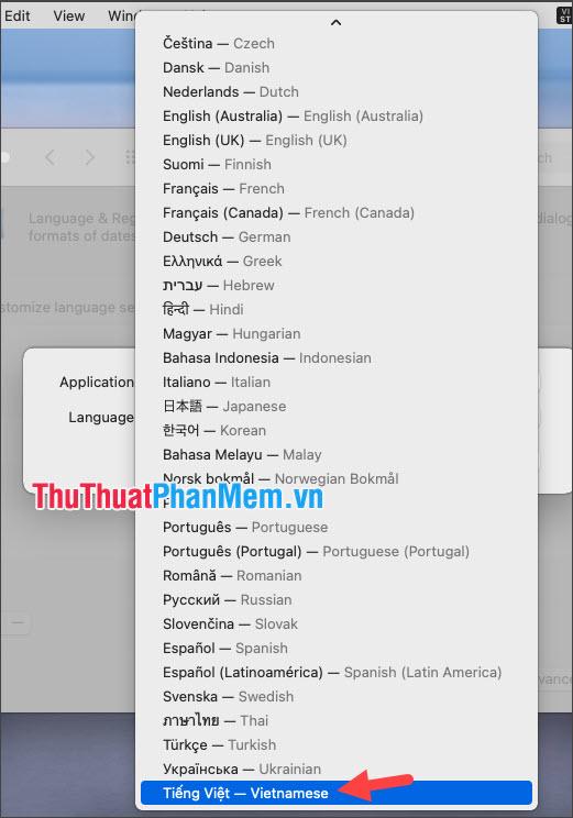 Click chọn ngôn ngữ Tiếng Việt