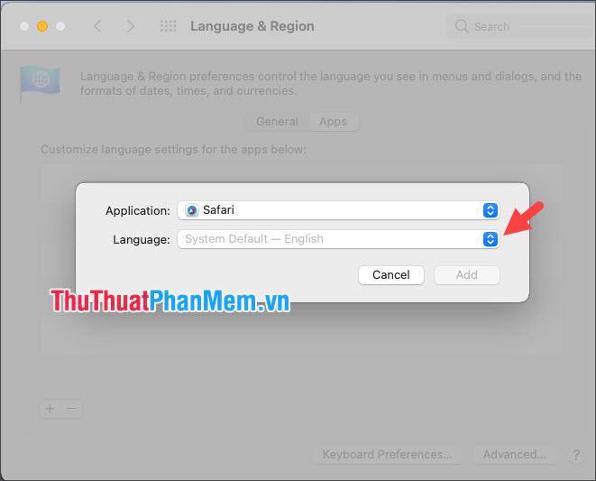 Click vào biểu tượng mũi tên lên xuống màu xanh trong mục Language