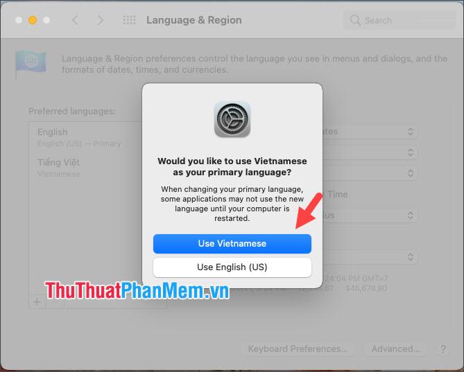 Click vào Use Vietnamese