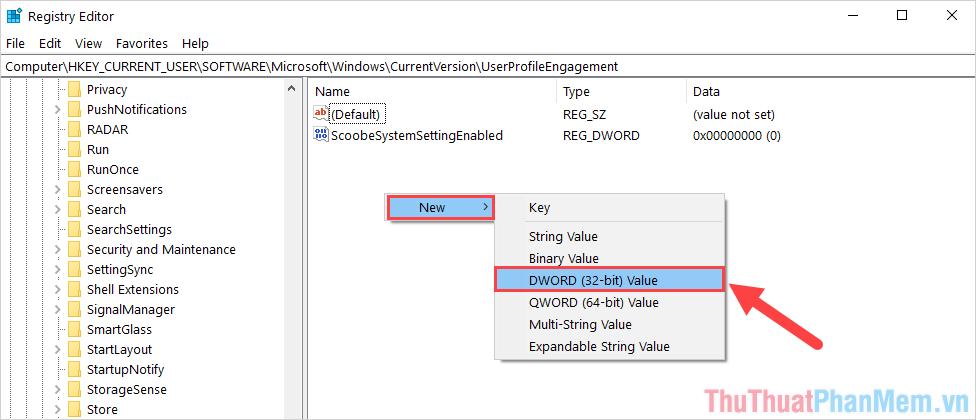Chọn DWORD (32-bit) Value để tạo lệnh mới và đặt tên là ScoobeSystemSettingEnabled
