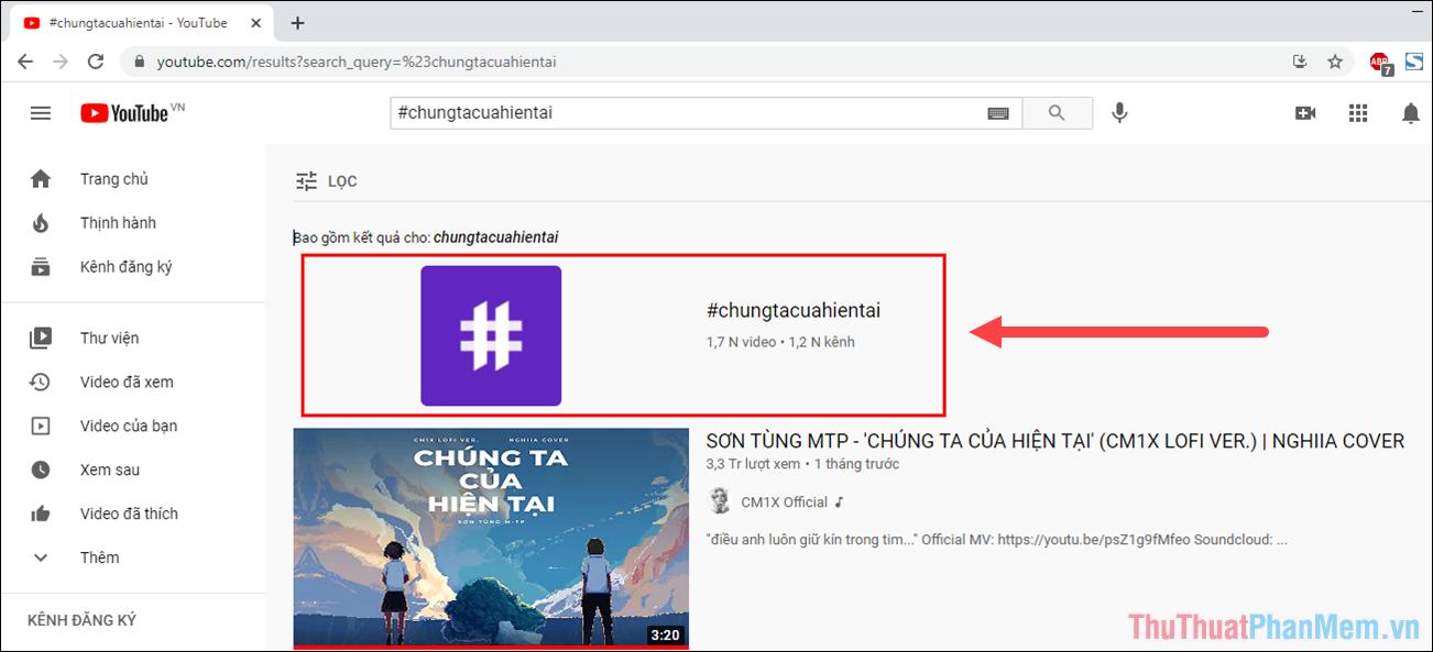 Mở danh sách Hashtag được tổng hợp để xem các nội dung bên trong