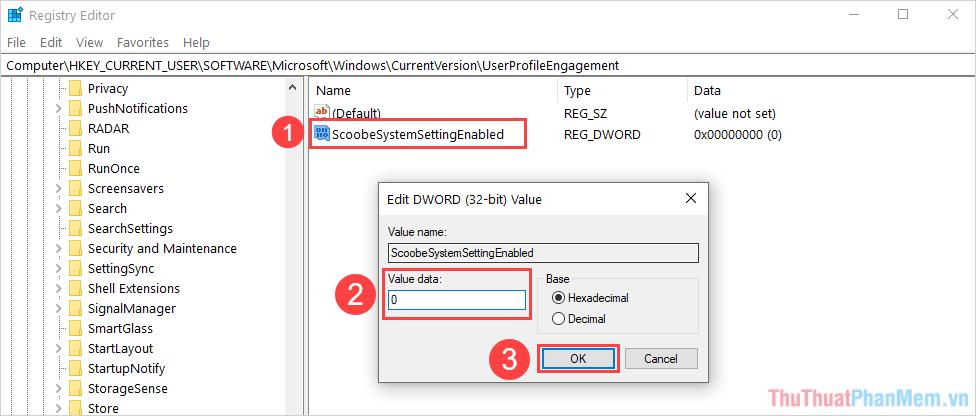 Nhập dữ liệu Value data thành 0 và nhấn OK để hoàn tất